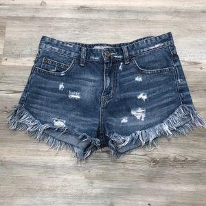 Free people denim distressed frayed jean shorts